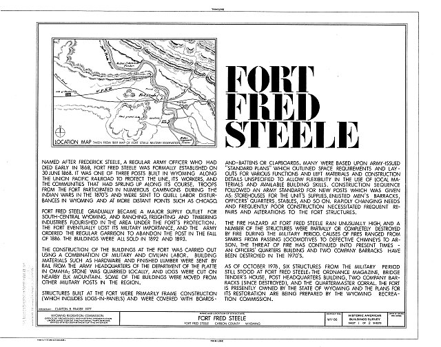 Cover Sheet - Fort Fred Steele, Fort Steele, Carbon County, WY