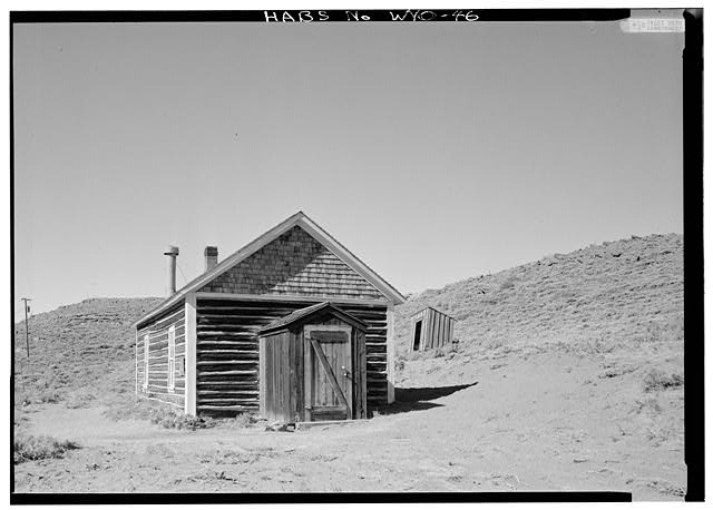 General view from southeast with privy in background. - School House, South Pass Avenue near Jefferson Street, South Pass City, Fremont County, WY