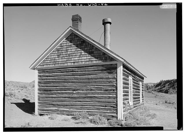 General view of west (rear) wall. - School House, South Pass Avenue near Jefferson Street, South Pass City, Fremont County, WY