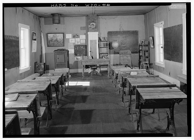 Interior of classroom showing west wall. - School House, South Pass Avenue near Jefferson Street, South Pass City, Fremont County, WY