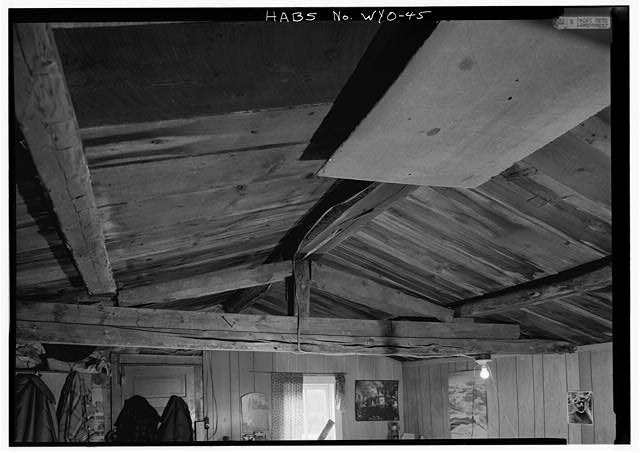 INTERIOR VIEW OF KING POST TRUSS CENTER OF CABIN - Tibbals-Sager Cabin, South Pass Avenue, South Pass City, Fremont County, WY
