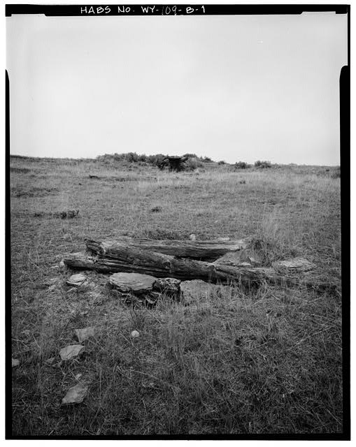 1.  VIEW TO WEST-NORTHWEST, DUGOUT IN BACKGROUND - Rock Well Homestead, Rock Lined Well, 15 miles Southeast of Wright, Wright, Campbell County, WY