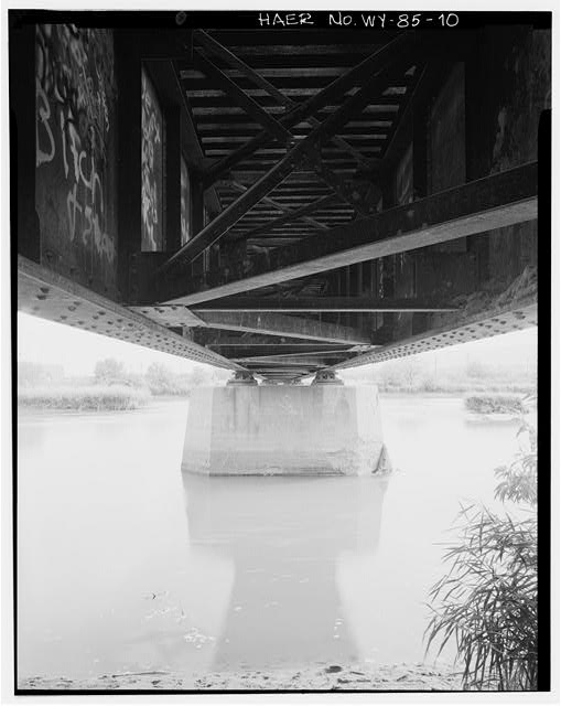 10.  Concrete pier and substructure from west bank, view to southeast - North Platte River Bridge No. 1210, Casper, Natrona County, WY