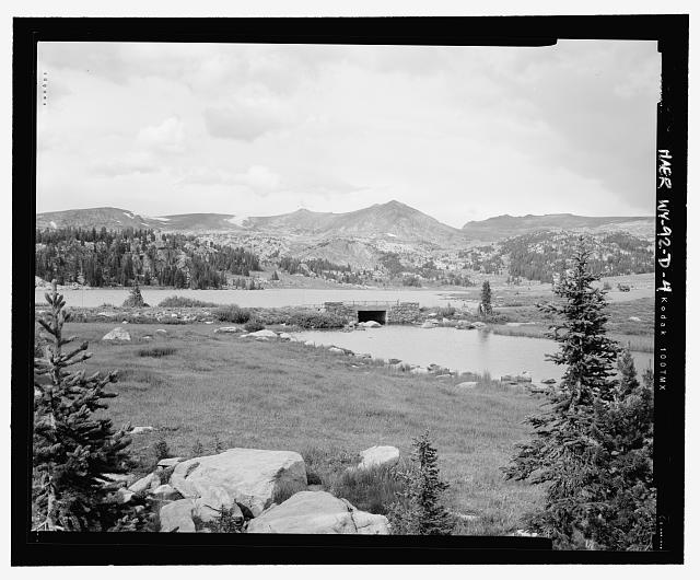 View of the bridge from the south side, looking north, showing setting - Beartooth Highway, Long Lake Bridge, Spanning Long Lake outlet on U.S. Highway 212 at Milepost 31.2, Cody, Park County, WY