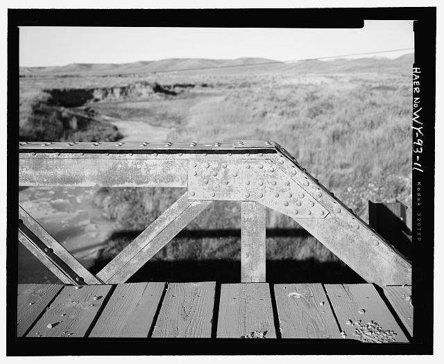 Northeast side of bridge, detail, view to east - North Fork of Crazy Woman Creek Bridge, Spanning North Fork of Crazy Woman Creek at Middle Fork Road, Buffalo, Johnson County, WY