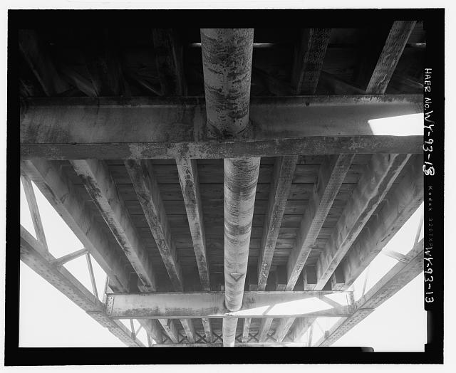 Underside of bridge, view to east - North Fork of Crazy Woman Creek Bridge, Spanning North Fork of Crazy Woman Creek at Middle Fork Road, Buffalo, Johnson County, WY