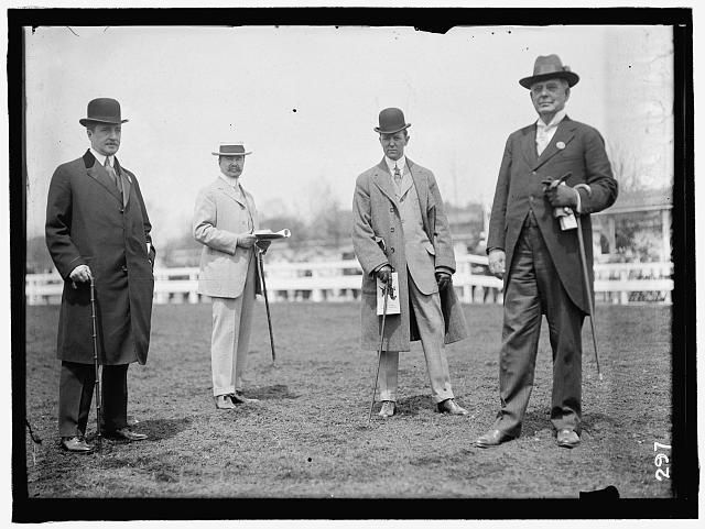HORSE SHOWS. 2 UNIDENTIFIED; P.G. GERRY; JUDGE W.H. MOORE