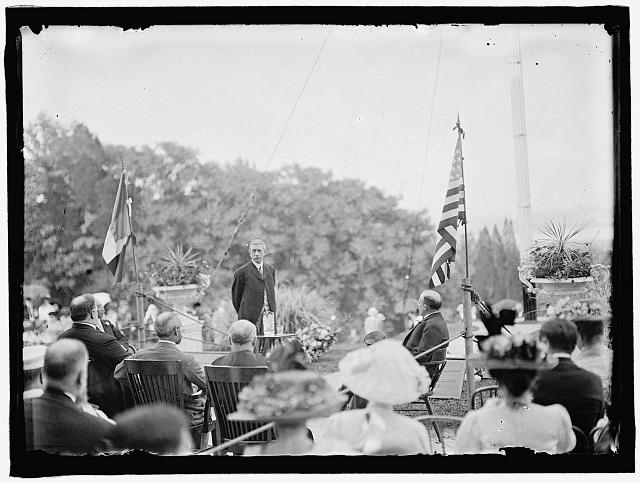L'ENFANT, PIERRE. MAJOR OF FRANCE. DEDICATION OF TOMB AND MEMORIAL AT ARLINGTON, APRIL 28, 1909. ROOT SPEAKING