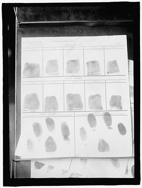 FINGER PRINTING. RECORDS FROM FINGER PRINT BUREAU, NAVY DEPARTMENT