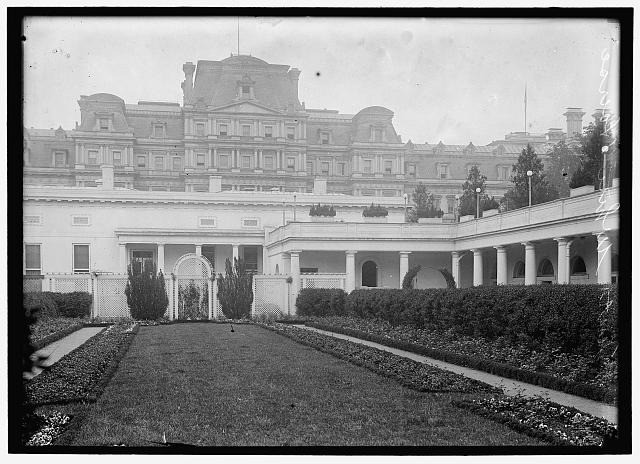 [White House, Southwest garden, which replaced the West Colonial garden. View to tent at eastern end]