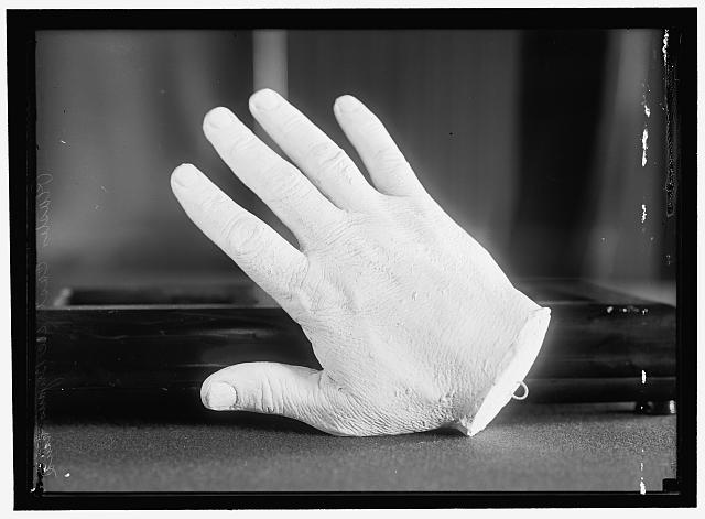 PLASTER CAST OF HAND OF BRYAN, WILLIAM JENNINGS. REP. FROM NEBRASKA, 1891-1895; SECRETARY OF STATE, 1913-1915