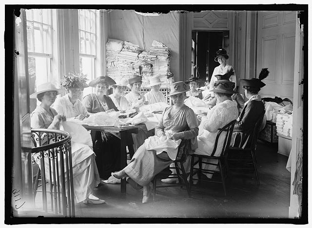 SENATE WOMEN SEWING, AT DISTRICT HEADQUARTERS, RED CROSS