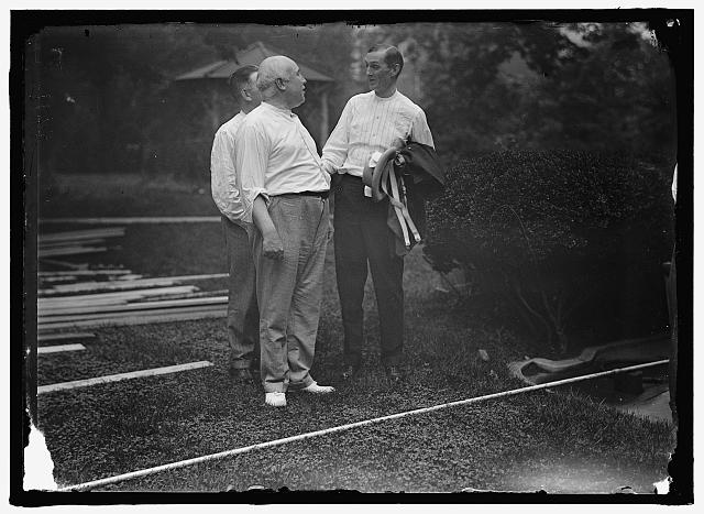 [CAMP, WALTER, I.E., EXERCISE SCHOOL. CABINET OFFICIALS EXERCISING WITH OTHER GOVT. OFFICIALS]