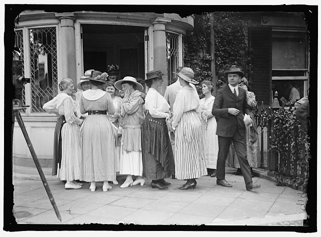 WOMAN SUFFRAGE. GROUPS AT HEADQUARTERS