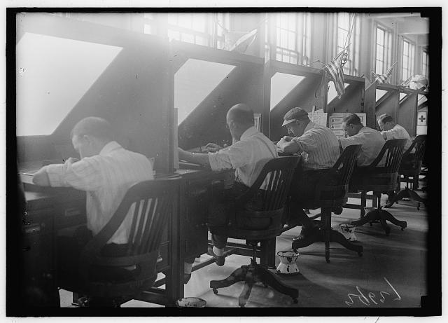 ENGRAVING AND PRINTING, BUREAU OF TREASURY DEPARTMENT. MEN AT WORK