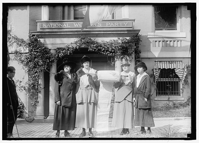 WOMAN SUFFRAGE. SUFFRAGETTES WITH BANNERS