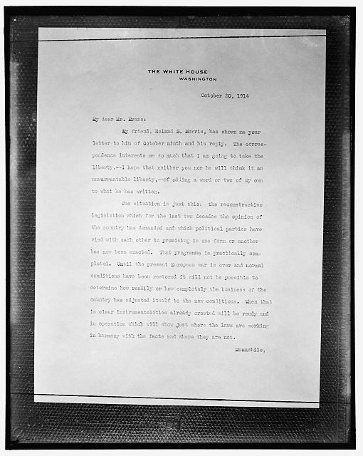 [Copy of letter on White House stationery, October 20, 1914