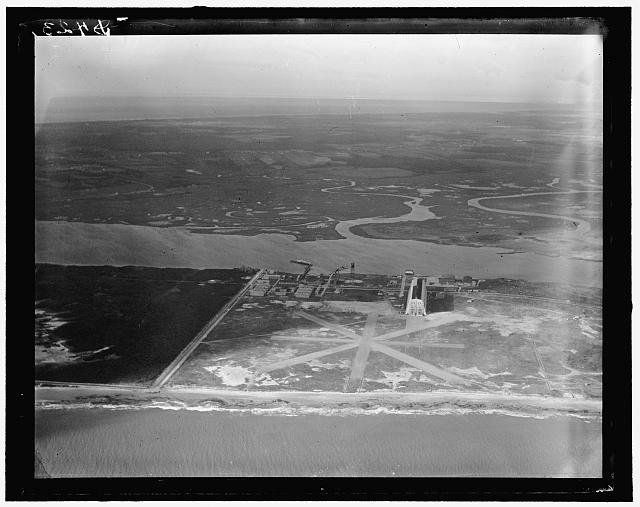 Air shot, Cape May (N.J.) Coast Guard Station Airport, showing Zep hanger built by Navy for treaty airship but now not in use