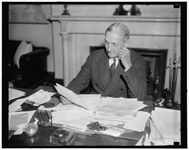 Senator from California. Washington, D.C., Dec. 28. Appearing in the best of health, Senator William Gibbs, Democract of California, has arrived in Washington to await the opening gong of the next session of Congress. He is pictured in an informal pose in his office at the Capitol