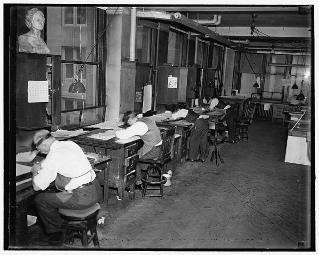 Geological Survey. Washington, D.C., Mar. 13. Lithographic draftsmen correcting the printing plates at the Dept. of Interior Geological Survey Section