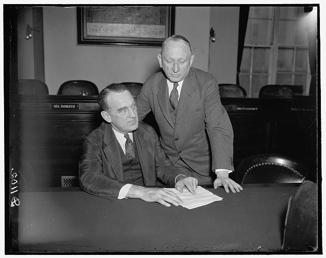 L to r: Peter Tague, Postmaster of Boston & Cong. James M. Mead of New York, 3/12/37