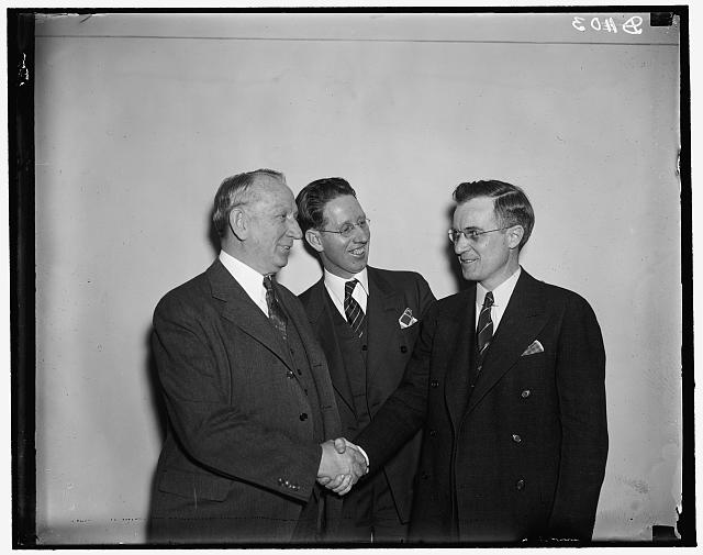 L to r: Peter Tague, John J. Hart, Cong. Robert Ramspeck of Georgia, 3/12/37