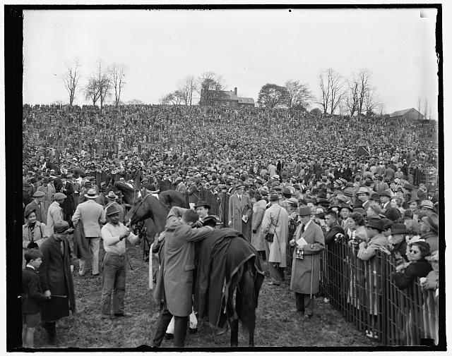 Baltimore, MD, April 24. A section of huge crowd that attended the Maryland Hunt steeplechase race near here. [...]llborn Jake, owned by Paul Mellon, son of the former Secretary of the Treasury, was the winner