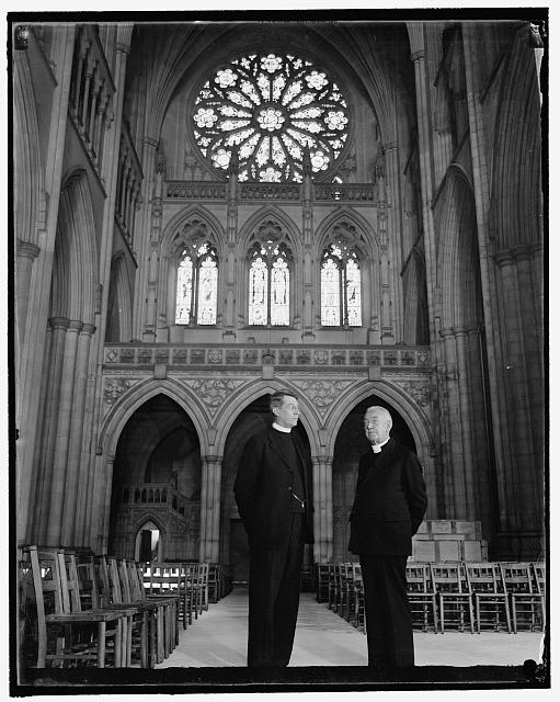 Inspect north transept in Washington Cathedral. Washington, D.C., Sept. 14. The Right Rev. James E. Freeman, Bishop of Washington, and the very Rev. Noble. C. Powell, D.D., newly elected Dean of Washington Cathedral, making a final inspection today of the great crossing and north transept which are to be used for public worship for the first time next Sunday at a special service for local members of the Masonic order in commemoration of t he Constitution. Bishop Freeman is on the right. 9/14/37