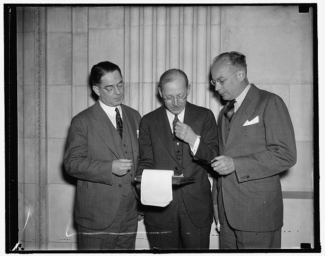 Textile experts before senate committee. Washington, D.C., Jan. 10. The above textile experts were called before the Special Senate Committee investigating unemployment today. They are, left to right: Russell Fisher, President, American Cotton Manufacturers; Robert E. Henry, President, Southern Textile Manufacturers Association; and Claudius [..] Murchison, President of the Textile Institute, 1/10/38