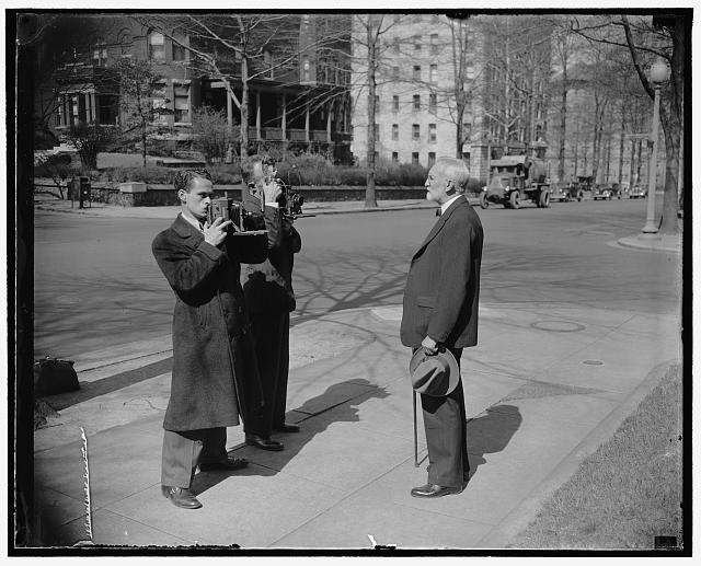Retired Justice Sutherland celebrates 76th birthday. Washington, D.C., March 25. Seemingly in the best of health, retired supreme court Justice George Sutherland today reached his 76th milestone. He is pictures posing for cameramen as he set out for his usual morning walk, 3/25/38