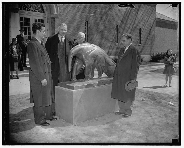 Anteater statue unveiled. Washington, D.C., March 25. The lowly anteater was immortalized at the Washington Zoo today when its statue was unveiled with appropriate ceremonies. The statue of bronze, six feet long, three feet high, was done by Edwin Springweiler. In the photograph, left to right: Edwin Springweiler, Dr. Alexander Wetmore of the Smithsonian Institution, who unveiled the statue, Head Keeper William Blackburn, and Dr. William M. Mann, Director of the National Zoological Park, 3/25/38