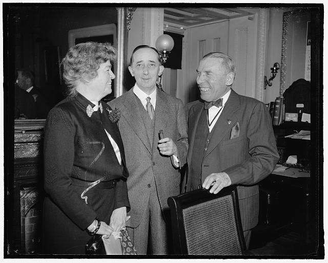 Sol. Bloom, Claude Bowers, Rep. Edith Rogers(?)