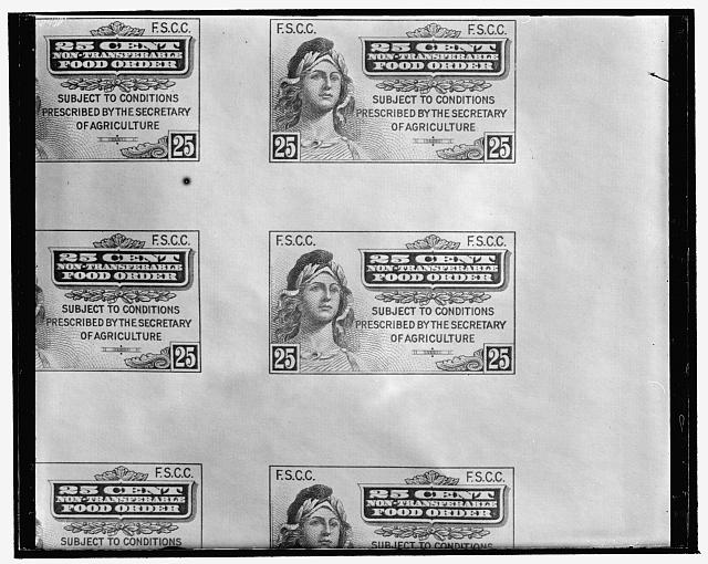 First food stamp. Washington, D.C., April 20. The first of the new surplus food stamps came of the presses at the Bureau of Engraving and Printing today. Latest of the administration's plans to reduce the farm surplus, the stamps, of yellow and blue, will be issued to persons on relief who in turn can trade each $1.00 stamp for food worth $1.50. Rochester, New York, will be one of the first half dozen cities to try the new stamp plan