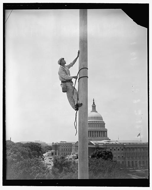 Tarzan paints the Senate flagpole. Washington, D.C., July 11. There comes a time each year when things around Capitol Hill need a bit of fresh paint, flagpoles no exception. Here is the flagpole over the Senate Office Building getting its new paint job, curiously enough, from a steeple-jack named Tarzan--Jack Tarzan
