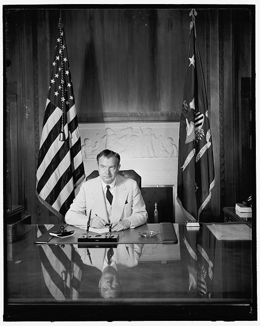 U.S. Attorney General. Washington, D.C., July 12. Attorney General Robert H. Jackson posed for this new picture in his office today, 7-12-40