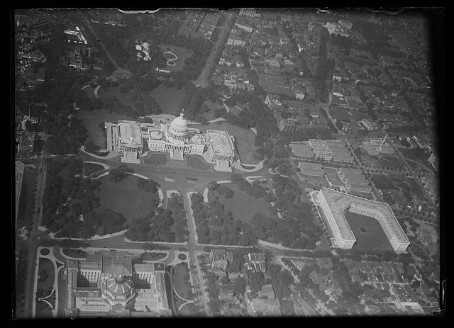 [Aerial view of U.S. Capitol building, Washington, D.C.]