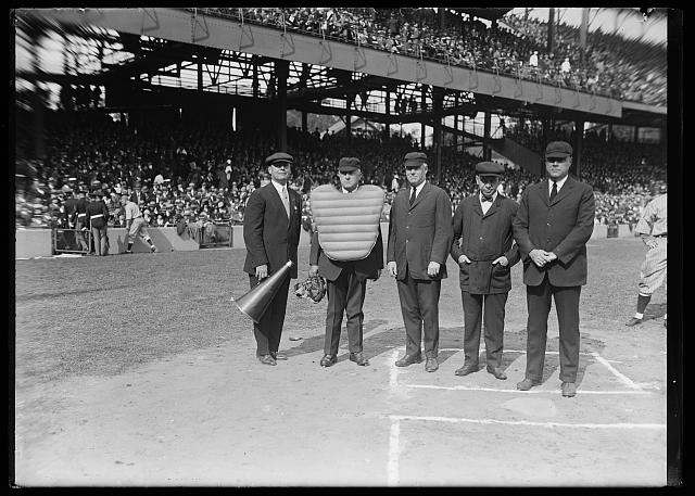 Umpires for the World Series of 1924 lined up before the game with Geo. Phillips, left, official announcer. L. to rt.: Phillips, Umpires Dineen, Klem, Quigley, and Connolly