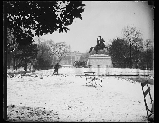 [Snow and Lafayette statue; White House in background. Washington, D.C.]