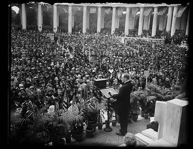 Pres. Coolidge delivering his patriotic address at memorial services in amphitheater at Arlington Nat'l Cemetery, May 30