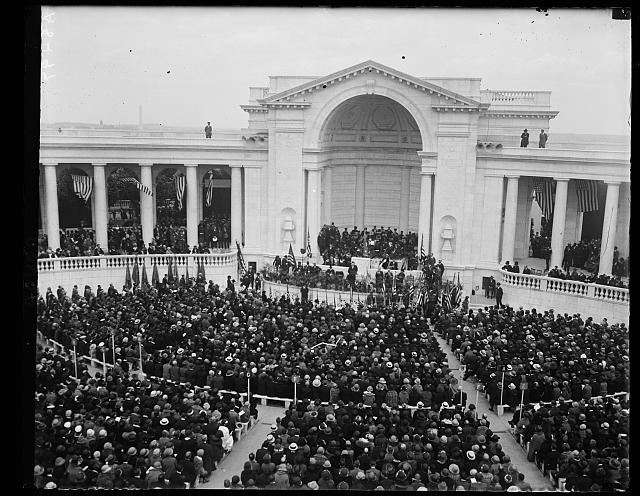 Pres. Coolidge delivering his patriotic address at the Memorial services in the amphitheater at Arlington Nat'l Cemetery, May 30th