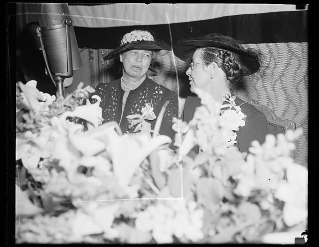 FIRST LADY HONOR GUEST AT CONGRESSIONAL CLUB BREAKFAST. WASHINGTON, D.C. MAY 4. MRS. FRANKLIN D. ROOSEVELT WAS THE HONOR GUEST TODAY AT THE ANNUAL MAY BREAKFAST OF THE CONGRESSIONAL CLUB AT THE RALEIGH HOTEL. SHE IS PICTURED WITH MRS. EDWARD R. BURKE, WIFE OF THE DEMOCRATIC SENATOR FROM NEBRASKA, WHO IS PRESIDENT OF THE CLUB