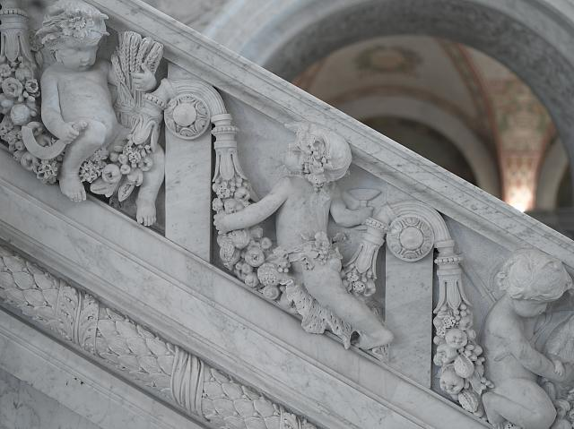 [Great Hall. Detail of putti (farmer and Bacchanalian) on Grand staircase by Philip Martiny. Library of Congress Thomas Jefferson Building, Washington, D.C.]