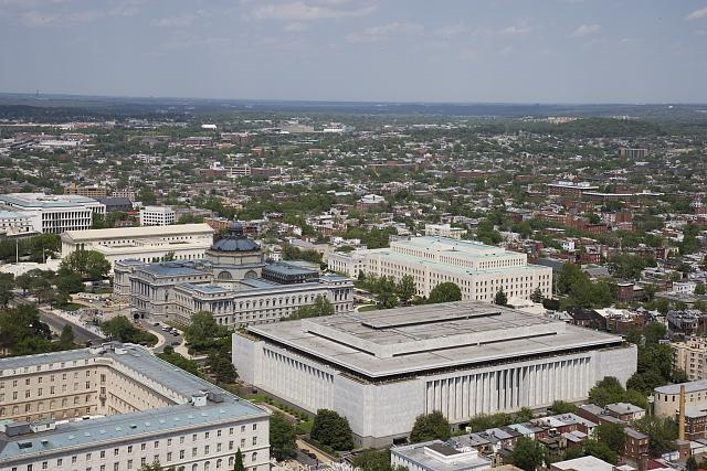 [Aerial view of Capitol Hill featuring the Madison, Jefferson and Adams Buildings of the Library of Congress, Washington, D.C.]
