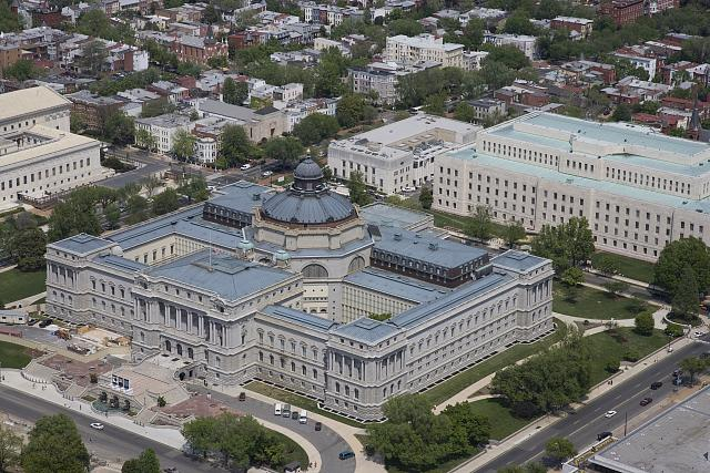 [Aerial view from the southwest of the Library of Congress Thomas Jefferson Building and John Adams Building, Washington, D.C.]