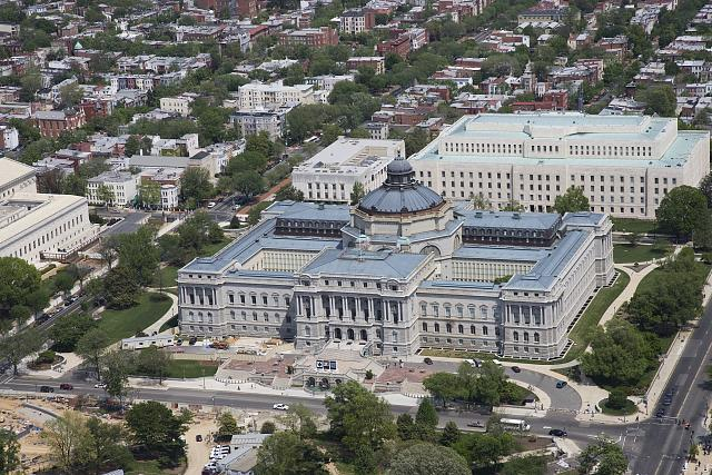 [Aerial view from the west of the Library of Congress Thomas Jefferson Building and John Adams Building, Washington, D.C.]
