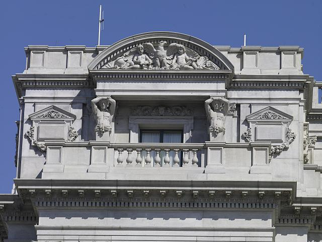 [Exterior view. Detail of exterior sculpted lunette supported by male figures on west side of Jefferson Building. Library of Congress Thomas Jefferson Building, Washington, D.C.]