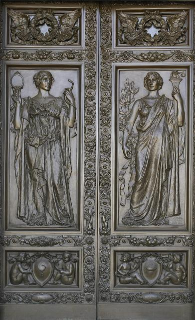 [Exterior view. Bronze doors to the right of the central entrance representing Writing by Olin L. Warner. Library of Congress Thomas Jefferson Building, Washington, D.C.]