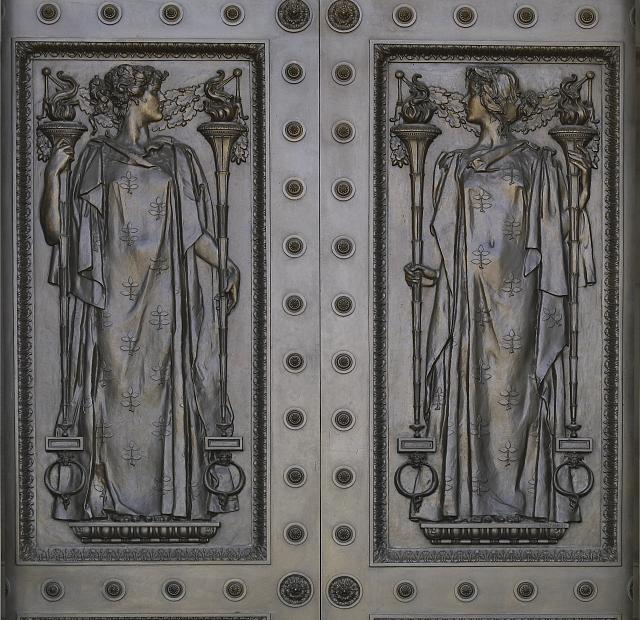 [Exterior view. Detail of central main entrance door, the Art of Printing, with women representing the Humanities (left) and Intellect (right), by Frederick Macmonnies. Library of Congress Thomas Jefferson Building, Washington, D.C.]