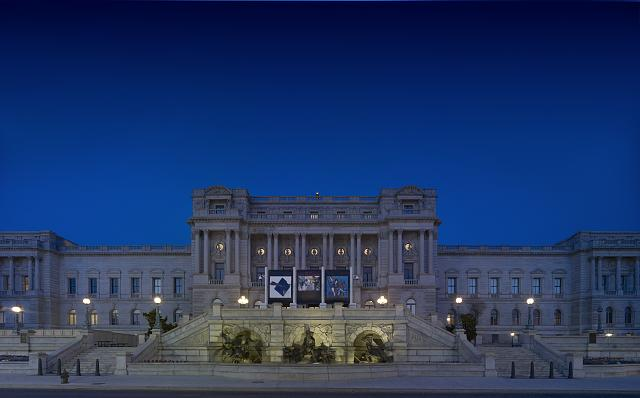 [Exterior view. Illuminated west façade view at night. Library of Congress Thomas Jefferson Building, Washington, D.C.]