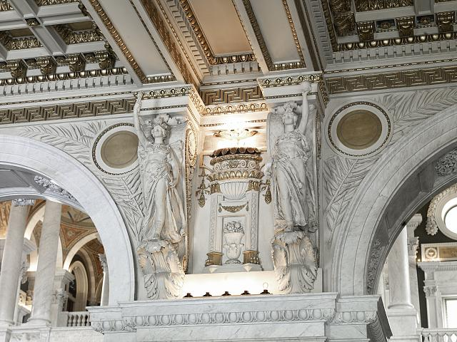 [Great Hall. Detail of paired sculptures of Minerva of War and Minerva of Peace. Library of Congress Thomas Jefferson Building, Washington, D.C.]